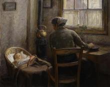Piet van Boxel (1912-2001) doek, 80,5 x 100, Interieur met moeder en kind in de wieg, gesigneer