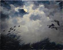 Jo Schrijnder (1894-1968) doek, 80 x 100,Opvliegende eenden bij maanlicht, gesigneerd l.o.