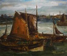 Julien Creytens (1897-1972) doek, 57 x 66, Schepen in haven, gesigneerd r.o.