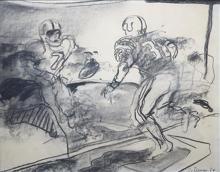 Jan van Diemen (1945-) houtskooltekening, 49 x 63,American Football, gesigneerd en gedateerd r