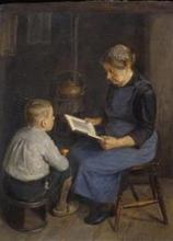 Piet van Boxel (1912-2001) doek, 40 x 30, Lezende dame met kind in interieur, gesigneerd r.b.