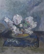 Henri Frederic Boot (1877-1963) doek, 60 x 50, Stilleven met witte rozen, gesigneerd r.o.