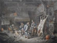 Cornelis van Noorde (1731-1795) aquarel, 33 x 43,5, Een boerenfamilie in een stal met de boer i