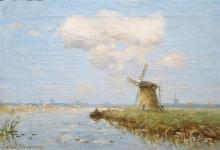Willem Johannes Weissenbruch (1864-1941) doek, 26 x 35,5, Molens aan de vaart, gesigneerd l.o.