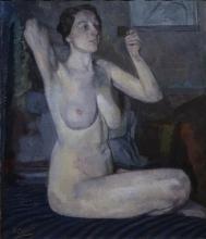 Henri Frederic Boot (1877-1963) - doek, 75,5 x 64,5, Zittend naakt, gesigneerd l.o. -Tentoonstell