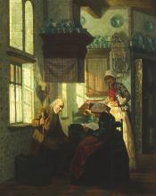 Pieter Willem Sebes (1827-1906) - paneel, 56 x 45,5, De Brief, een interieur met een jonge vrouw