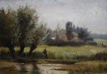Hendrikus Alexander van Ingen (1846-1920) - board, 22 x 30, Boerderij bij Renkum, gesigneerd r.o.