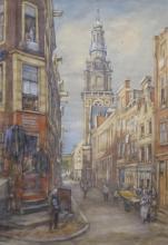 Dirk Johannes van Haaren (1878-1953) - aquarel, 56,5 x 39,5, Gezicht op deZuiderkerk teAmsterda