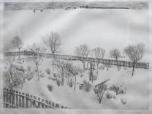 Alexander Olbricht (1876-1942) - ets, 32,5 x 43, Sneeuwlandschap, gesigneerd r.o., oplage 35/150