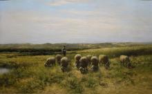 Hermanus Charles Christiaan Bogman (1861-1921) - doek, 40 x 63,5, Herder met schaapskudde in zome