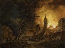 doek, 27,5 x 35,5, Nachtelijke brand met blussende bewoners, navolger Danië
