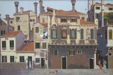 Frans de Haas (1934-2007) doek, 100,5 x 150, Campo della Maddalena,Venezia