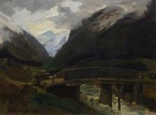 Arend Hijner (1866-1916) doek, 42,5 x 55, Berglandschap met bruggetje over