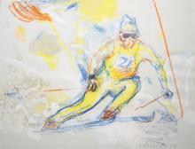 Jan van Diemen (1945-) gouache en krijt op papier, 50 x 65, Slalom skiër, g