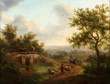 Anthony Jacobus Offermans, Rotterdam 1796-1872 The Hague, Shepherds with cattle in hilly landscape, oil on panel, 39 x 49,5 cm.