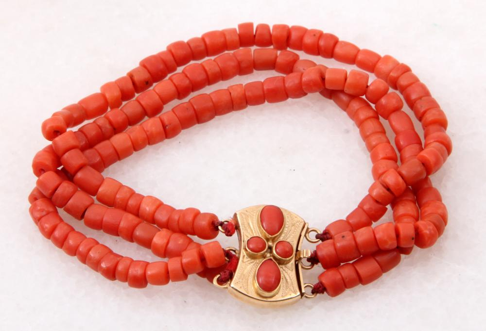 04b08435328bb Red coral bracelet with gold lock