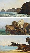 Drei Gemälde: Felsen in der Normandie