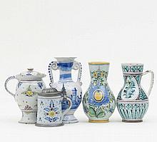 Konvolut 2 Krüge, Deckelkrug, Vase, kleiner Walzenkrug