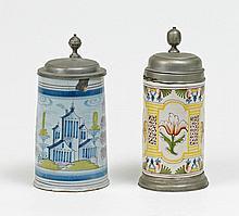 Zwei Walzenkrüge mit Pilasterdekor bzw. Architekturlandschaft