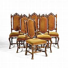 Folge von sechs Barock Stühlen
