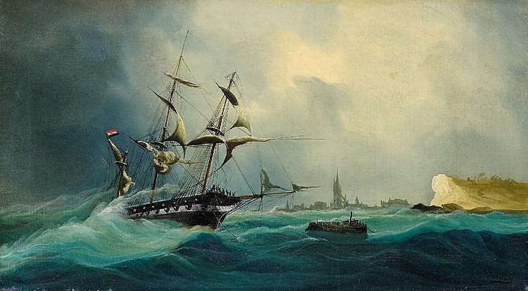 Dubreuil, Chéri  1828 - um 1880  Dreimaster bei stürmischer See