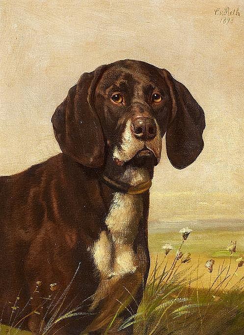 Reth, Caspar von  1850 Aachen - 1913 Aachen  Hundeporträt