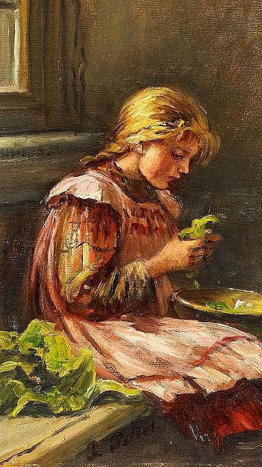 Peters, Pietronella  1848 Stuttgart - 1924 Sonnenberg  Mädchen beim Salatputzen