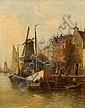 Wagner, Karl Theodor  1856 Wien - 1921 Prechtoldsdorf  Im Hafen einer flandrischen Stadt, Karl (1856) Wagner, Click for value