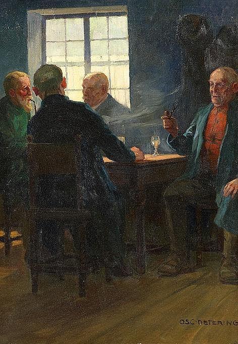 Detering, Oscar  1872 Barmen - 1943 Düsseldorf  Herren beim Kartenspiel