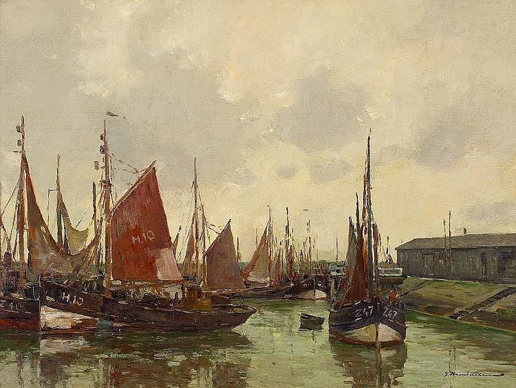 Hambüchen, Georg  1901 Düsseldorf - 1971 Düsseldorf  Schiffe im Hafen