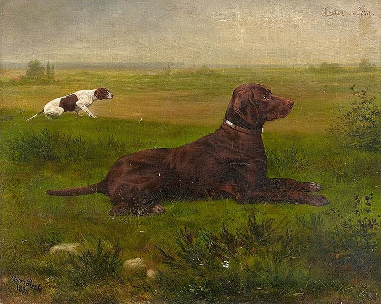 Reth, Caspar von  1850 Aachen - 1913 Aachen  Zwei Jagdhunde