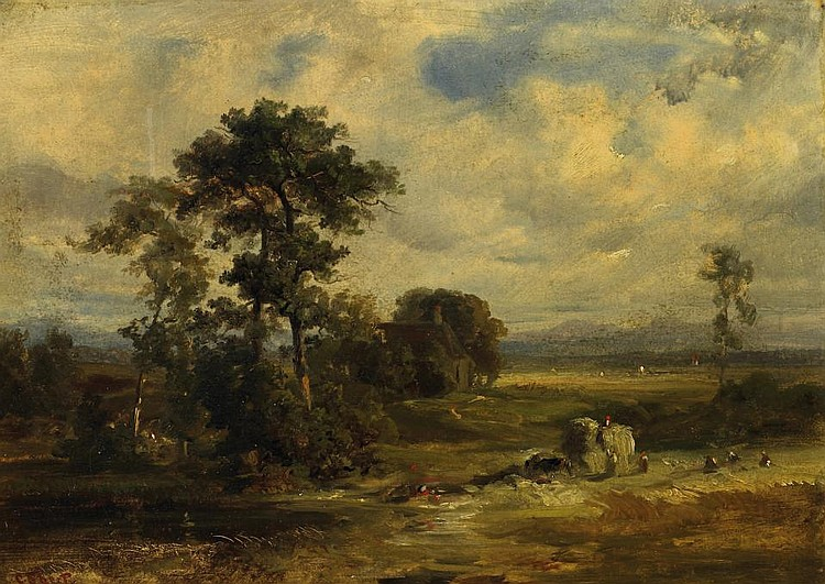 Landscape study with farmers and their harvest.