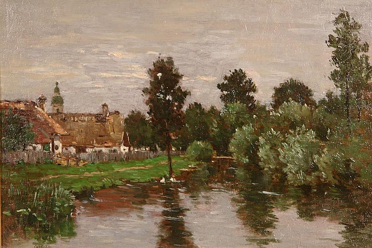 Riverlandscape with village and church with upcoming rain.
