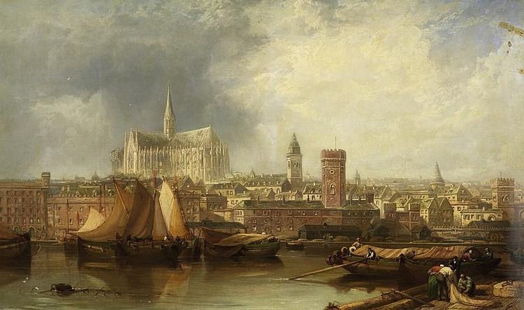 View of Cologne with incomplete dome.