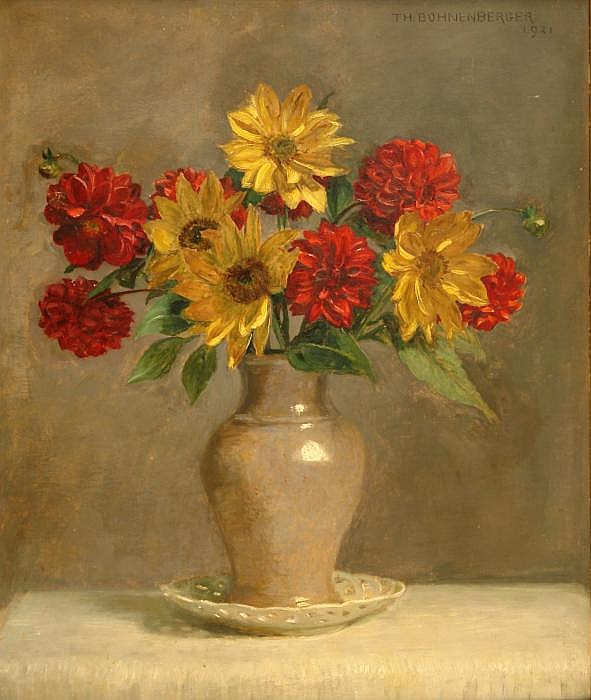 Floral still life with sunflower and red dahlias in a vase.