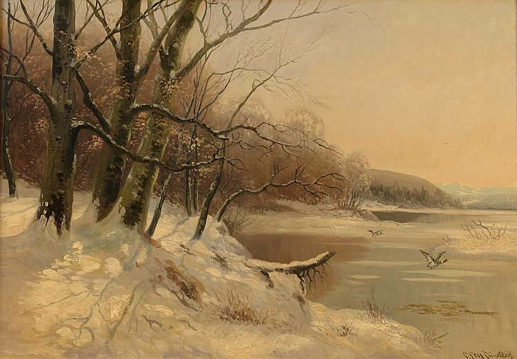 Winterly lake landscape with flying wild ducks.