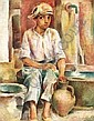 Mod. painting, designs, water colors Dollerschell, Eduard 1887 Elberfeld - 1946 Elberfeld boy of  Mallorca 1928. Oil on canvas. 60x48 5cm. Marked and dated down right: Dollerschell, Mallorca 28.  Back on keilrahmen marks and calls. Framework., Eduard Dollerschell, Click for value