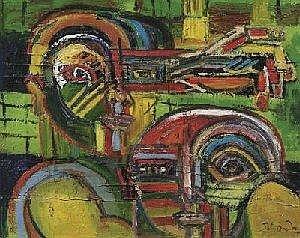 Boudon, Patrick 1944 Florac Faces. Oil on canvas. 65x80cm. Signiert down right: PatriBoudon. Framework.