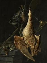 Hunting Still Life with a Goose, a Hare, a hunting Horn, a Shotgun and other Game