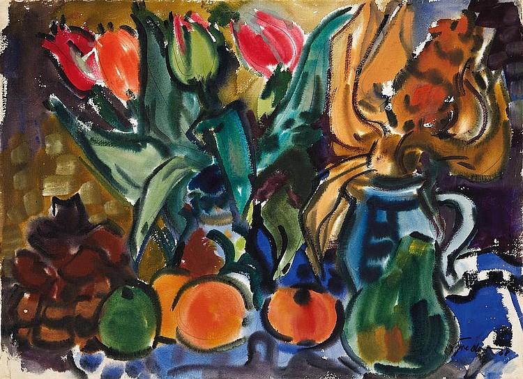 Bredow, Rudolf  1909 Berlin - 1973 Bremen    Still life with tulips and fruits.