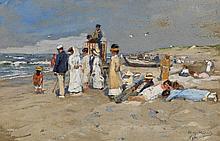 MÜHLIG, HUGO - 1854 Dresden - 1929 Düsseldorf  Beach Scene on Sylt.