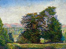 DE LA VILLÉON, EMMANUEL VICTOR AUGUSTE MARIE - 1858 Fougères/Ille-et-Vilaine - 1944 Paris Landscape of Hills with Trees.
