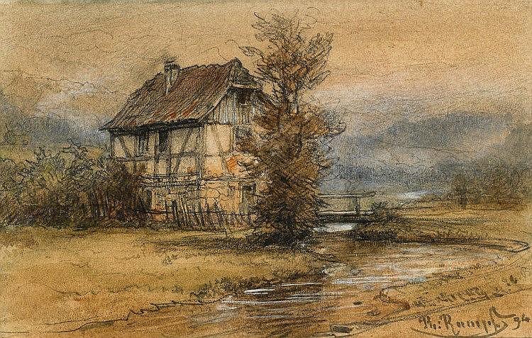 RUMPF, PHILIPPE - 1821 Frankfurt/Main - 1896  Small House near Bad Bendtheim(?).