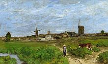 HERVIER, LOUIS-ADOLPHE - Paris 1818 - 1879 Pasture near the Village.