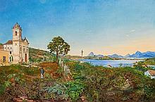 GRASHOF, OTTO - 1812 Prenzlau - 1876 Cologne - Brazilian Landscape near Rio de Janeiro (Niterói?).