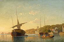 MEVIUS, HERMANN - 1820 Wroclaw - 1864 Düsseldorf - Evening Mood in a Nordic Harbour.