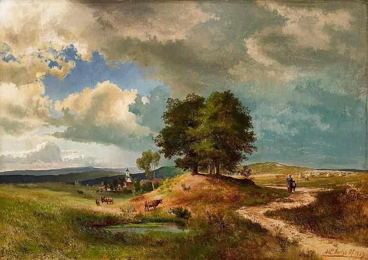 SACHS, MICHAEL - 1836 Hadamar - 1893 Partenkirchen - Landscape in the Eifel with a Village.