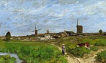 HERVIER, LOUIS-ADOLPHE - Paris 1818 - 1879 - Pasture near the Village.