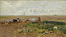 MÜHLIG, HUGO - 1854 Dresden - 1929 Düsseldorf - Wide Landscape of Fields with Hunter.