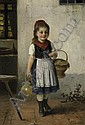 Little girl with jar and basket., Hugo Oehmichen, Click for value